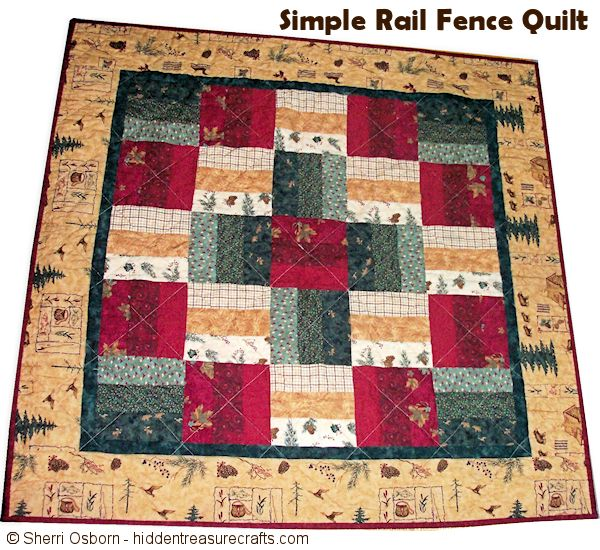 Simple Rail Fence - My First Quilt