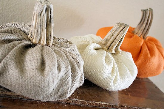 DIY Burlap Pumpkins with Real Stems