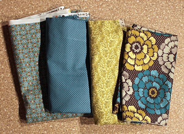 green brown blue purse fabric
