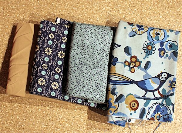 blue bird tan fabric