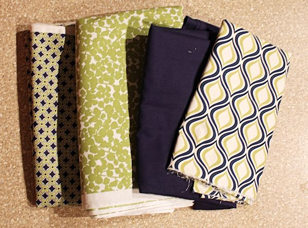 navy and green fabric