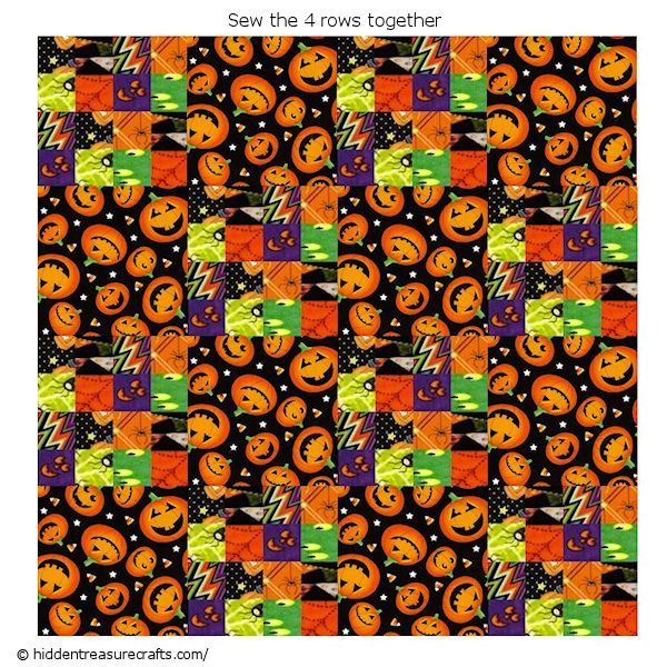 sew halloween quilt rows together
