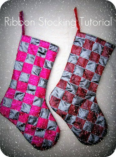 Basket Weave Ribbon Christmas Stocking Tutorial