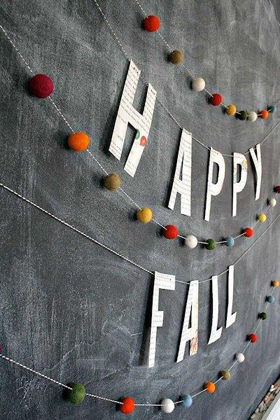 Happy Fall Felt Ball Banner