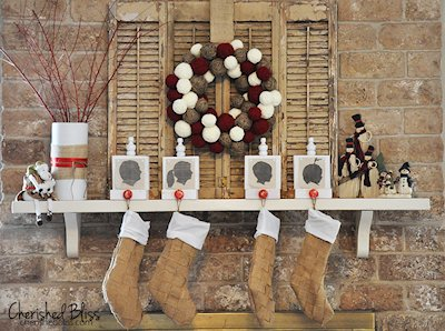 Weaved Burlap Christmas Stockings