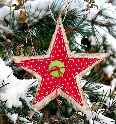 Starched Burlap Star Ornaments