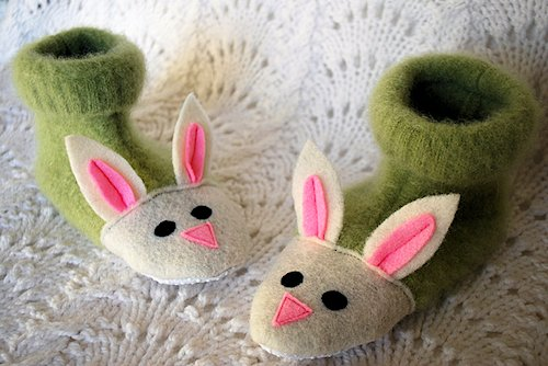 Fuzzy Bunny Slippers from Sweaters