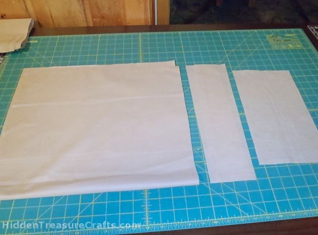 cut up the fabric for grocery bags