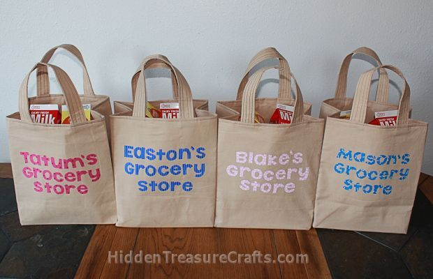 four filled grocery bags