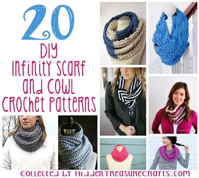 20 DIY Infinity Scarf and Cowl Crochet Patterns | Hidden Treasure ...