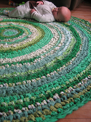 lovely crochet rug on Five Green Acres