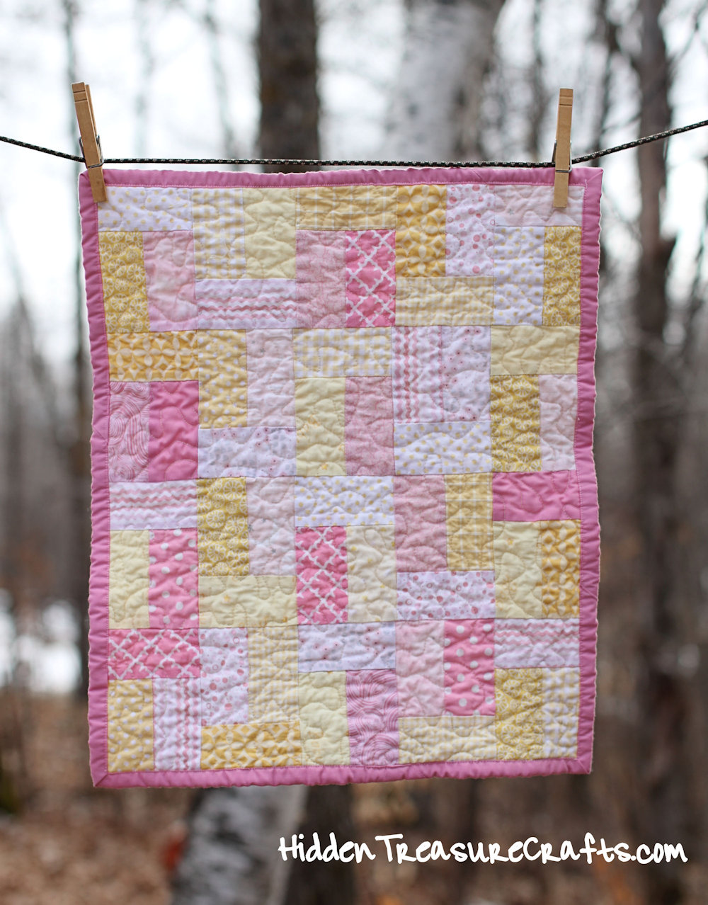 Pink and Yellow Quilt for Newborn Baby Photography Prop