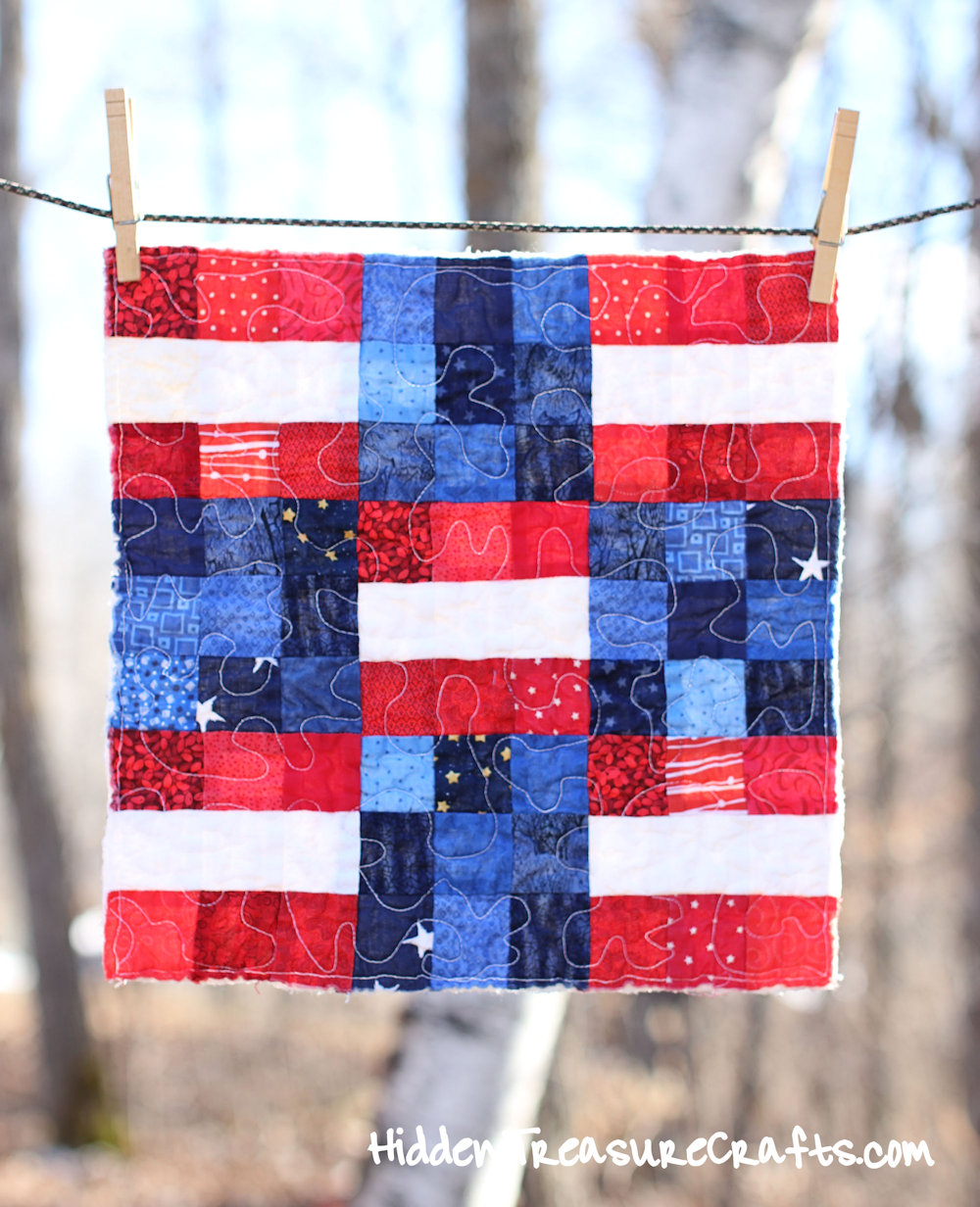 Patriotic Quilt for Newborn Baby Photography Prop