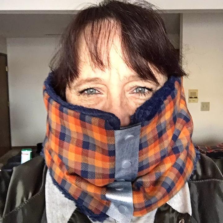 Me wearing my orange scarf