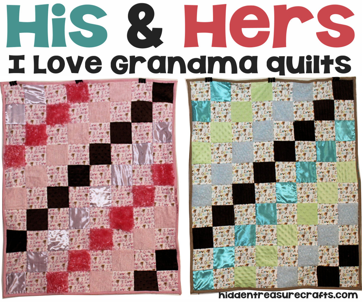 His and Hers I Love Grandma Baby Quilts
