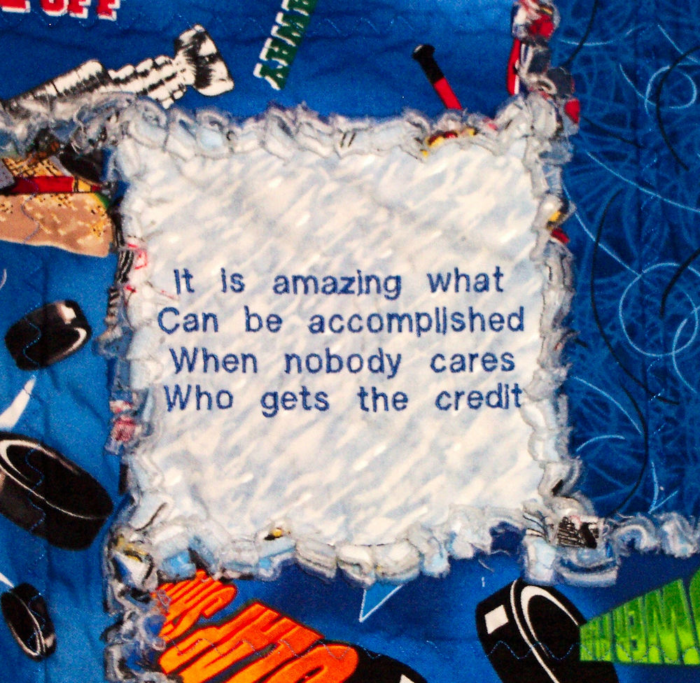 Hockey Quote Quilt Close-Up